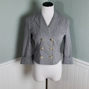 Theory Striped Button Front Cropped Blazer